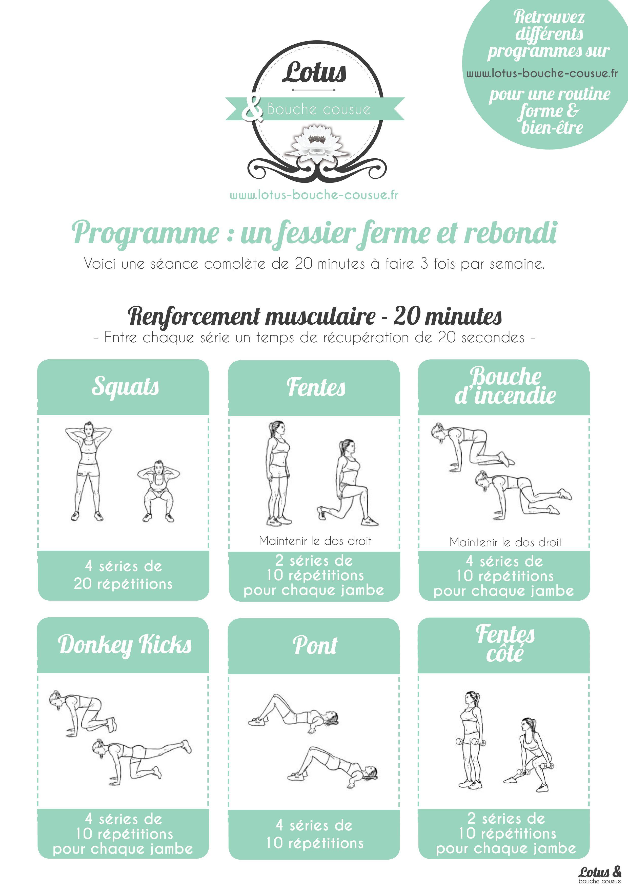 Voici un programme de 20 minutes faire la maison qui for Programme de sport musculation
