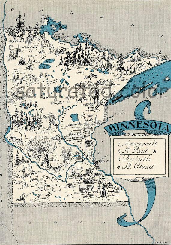 Minnesota Antique Vintage Pictorial Map