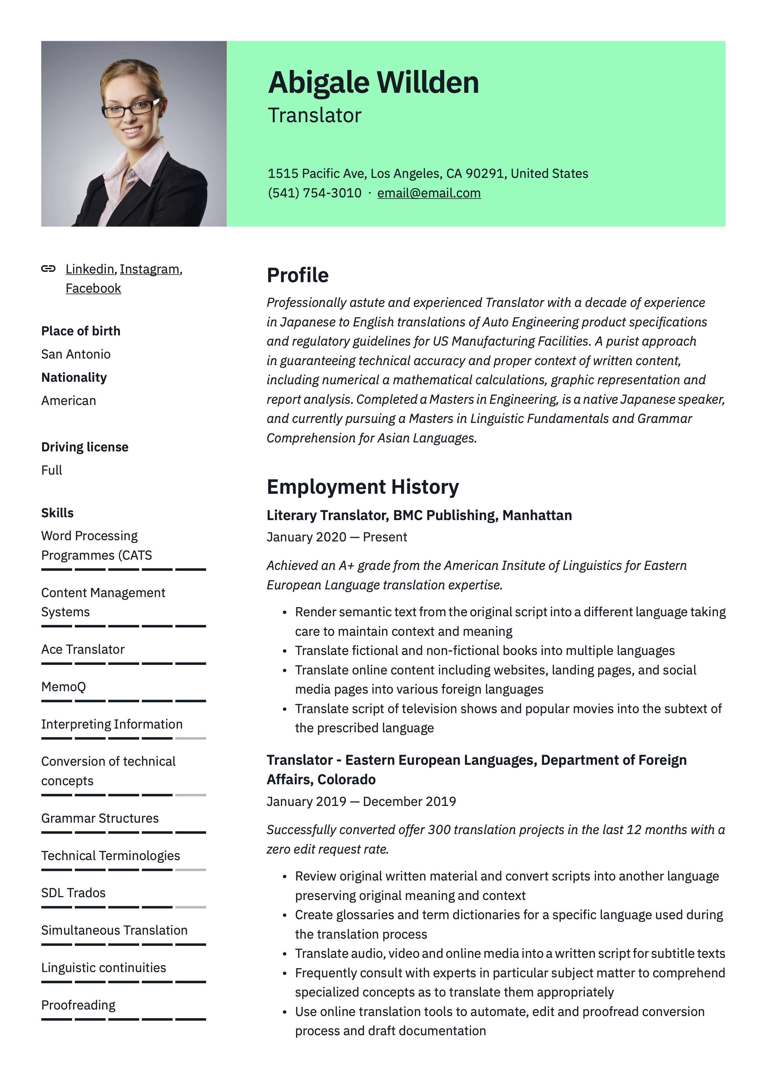 Traslator Resume Sample Guided Writing Resume Writing Resume