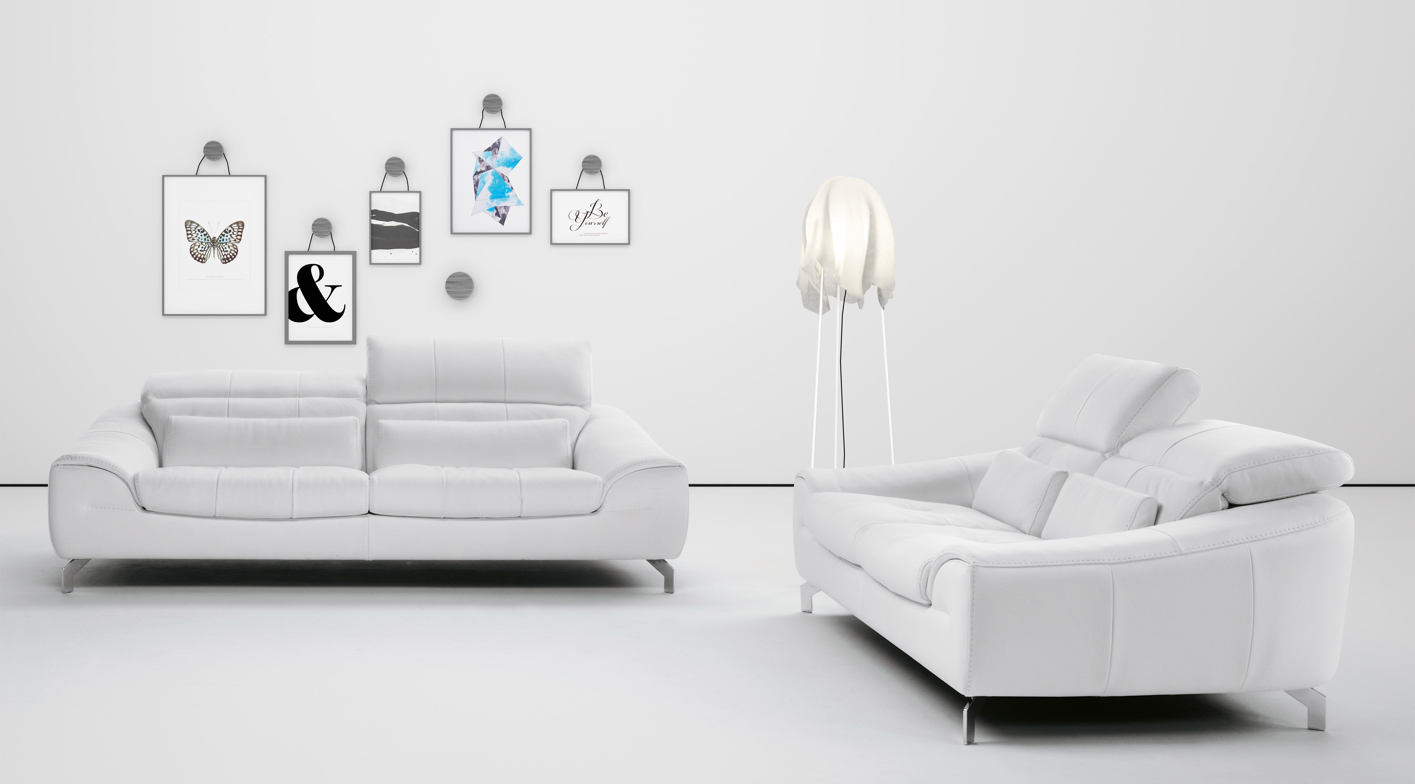 White Sofa Set In Soft Leather With Color Options Living
