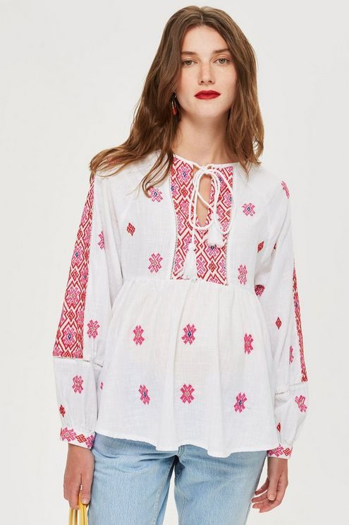 d57eb2b017f8 MATERNITY Embroidered Smock Blouse in 2019 | Products | Blouse ...