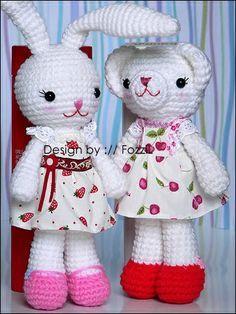 Mr and Miss Bunny ~ free pattern, use google translator
