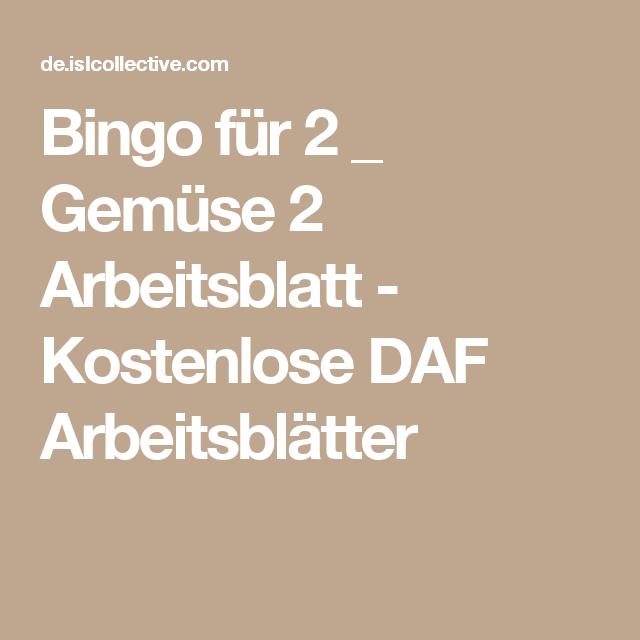 Bingo für 2 _ Gemüse 2 Arbeitsblatt - Kostenlose DAF Arbeitsblätter ...