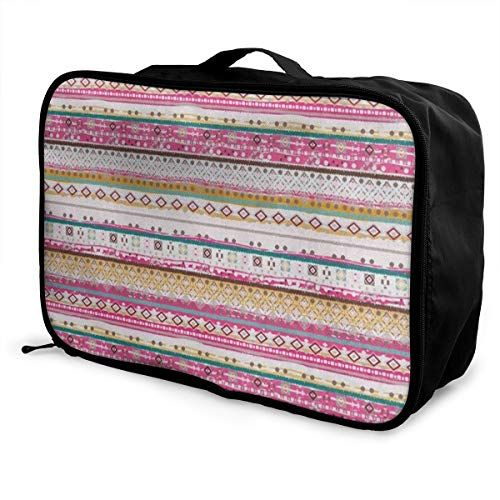 Travel Bags Colorful Flower Stripe Portable Tote Special Trolley Handle  Luggage Bag - Travel 1ceaf9f72fef8