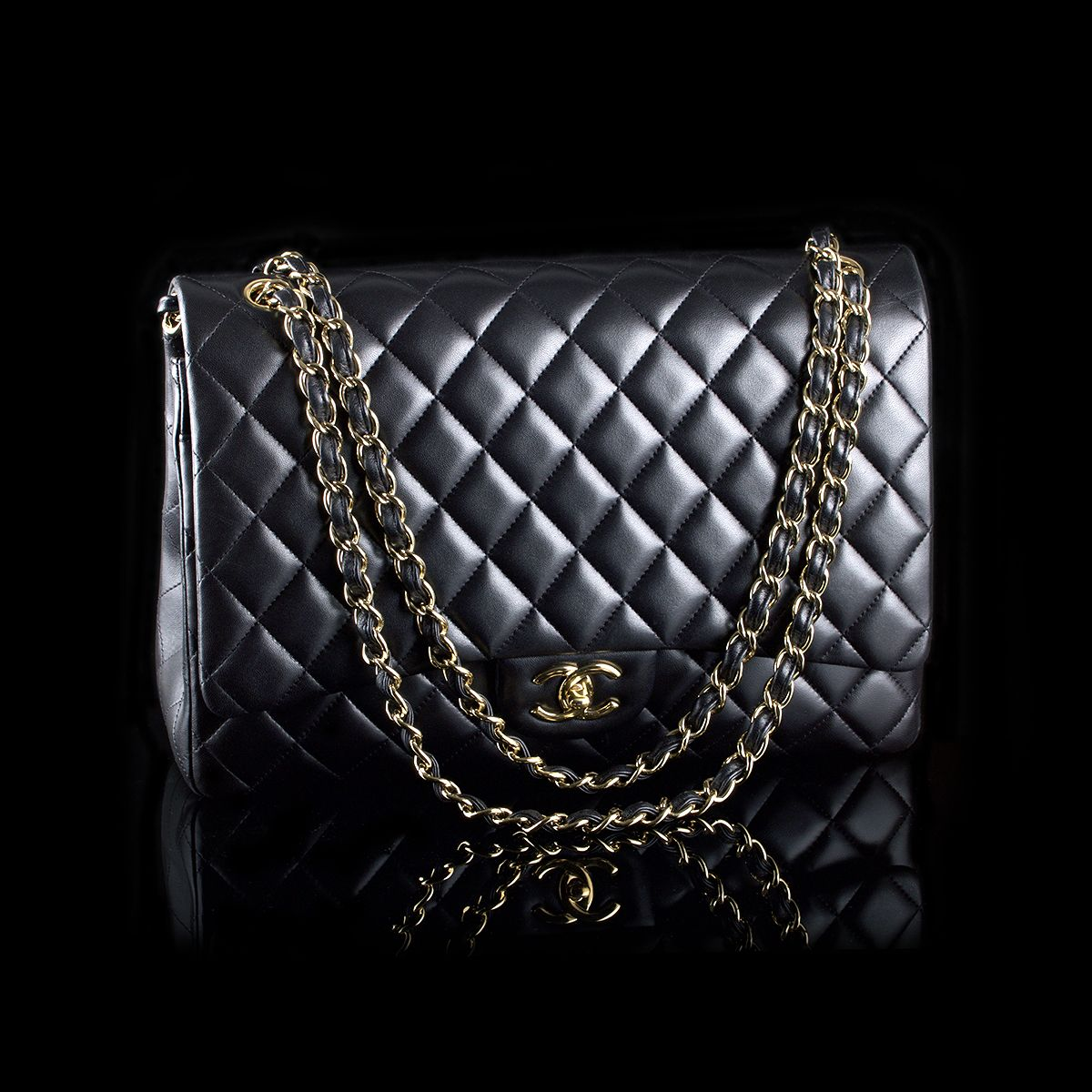 Sold Chanel Maxi Double Flap Black Lambskin Golden Hardware Chanel Maxi Bags Chanel