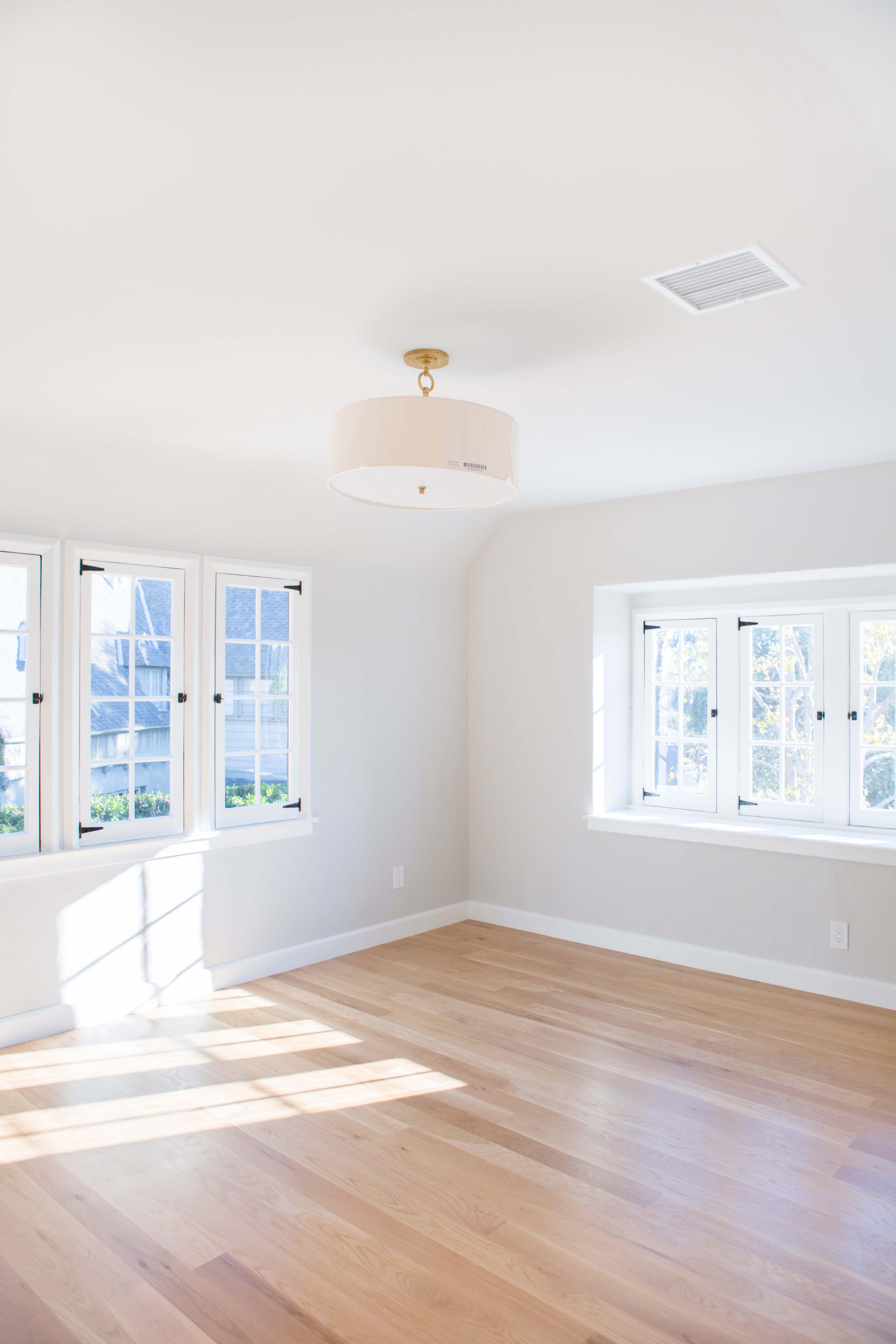 The Story Of Our Herringbone Flooring Emily Henderson Grey Walls White Trim Light Grey Paint Colors White Oak Floors