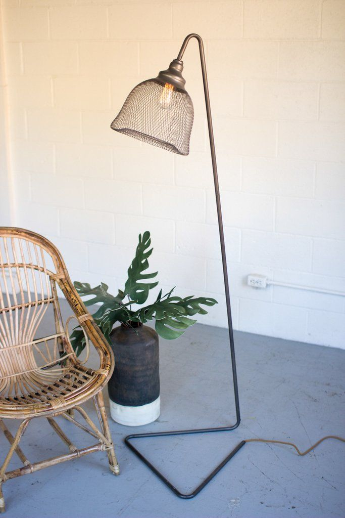 Metal floor lamp with wire mesh shade decor galore pinterest metal floor lamp with wire mesh shade keyboard keysfo Image collections