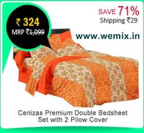 Cenizas Premium Cotton Double Bedsheet Set With 2 Pilow Cover Rs. 324
