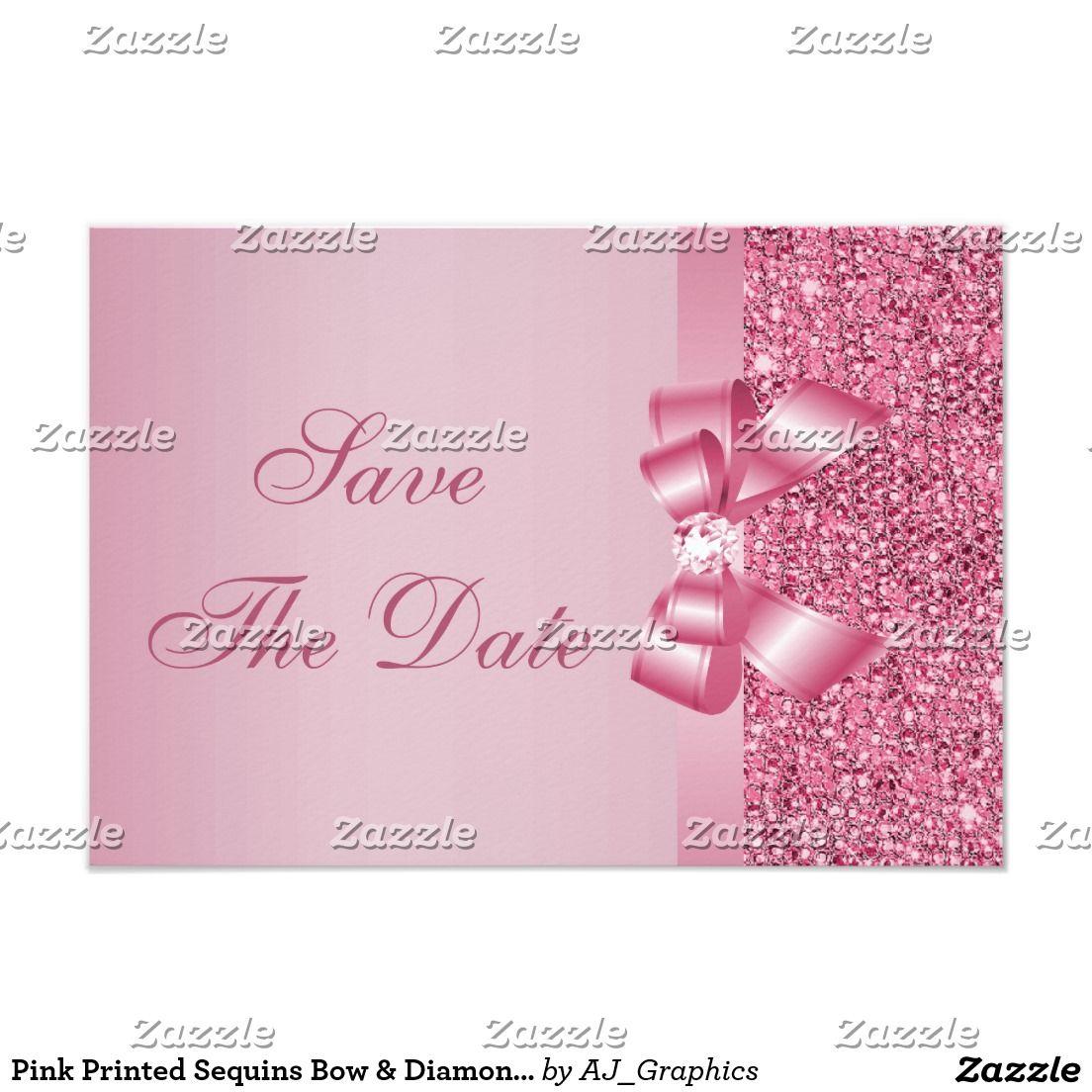 Pink Printed Sequins Bow Diamond Save The Date Card Elegant Custom