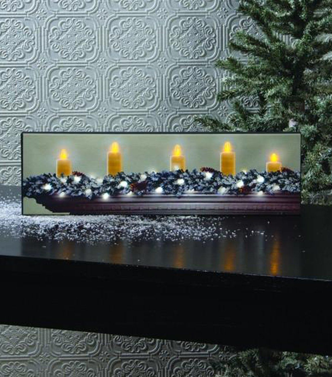 Lighted Small White Christmas Canvas