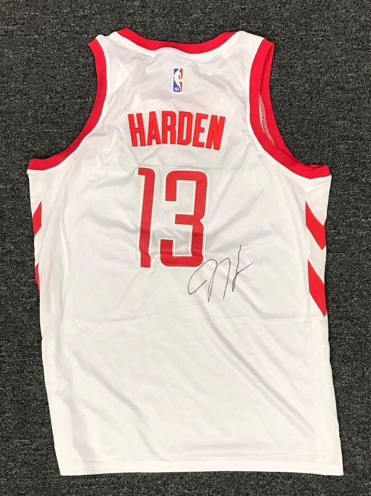 7479147a4 James Harden  13 Signed Houston Rockets Jersey Sz 52 Beckett BAS WITNESSED  COA