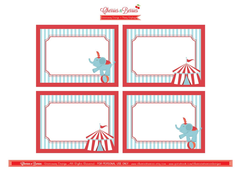 Circus Printable Fancy Labels 600 Via Etsy