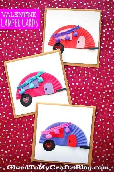 cupcake liner valentine camper card craft with images