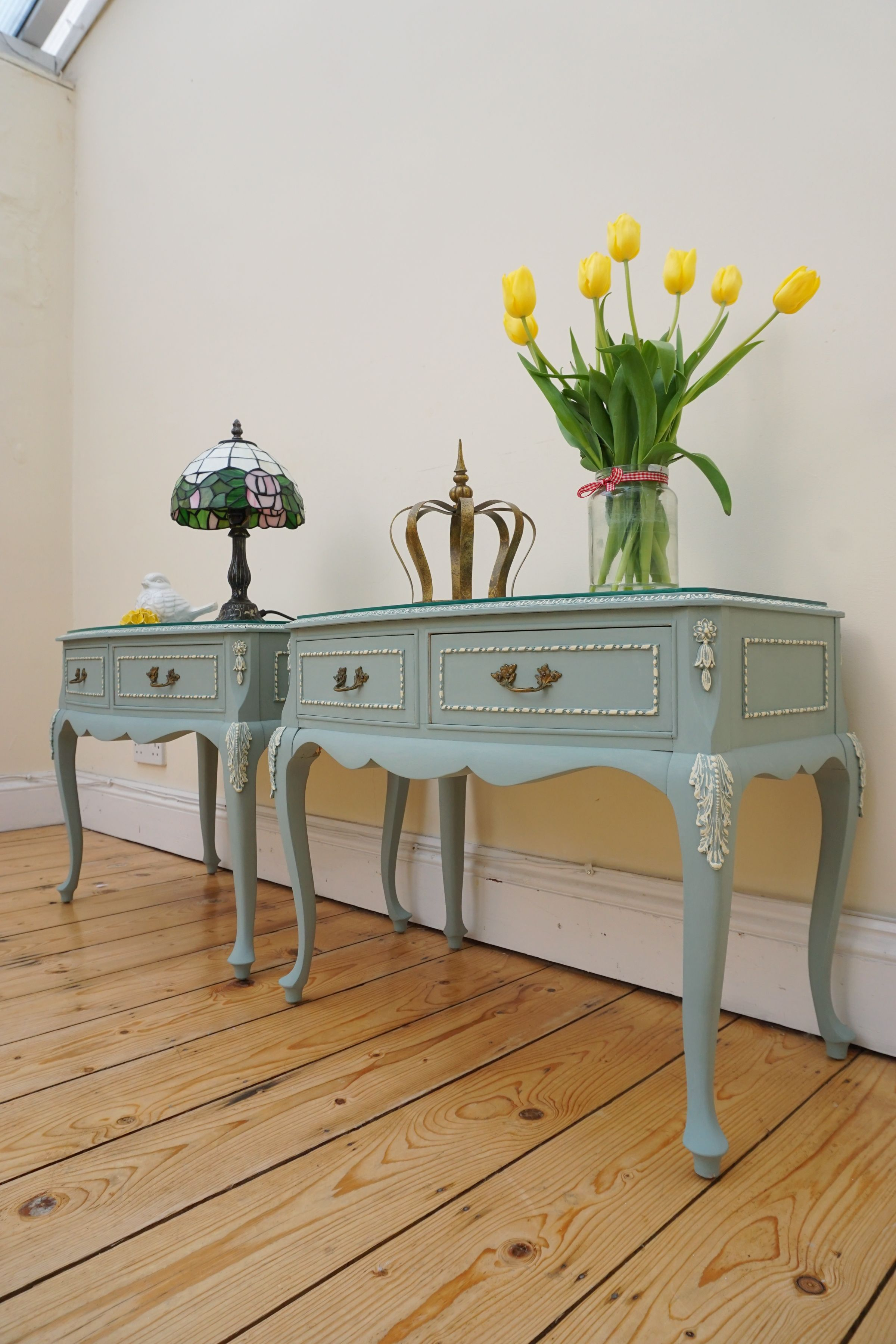 French Louis Style Olympus pair of side tables, bedsides