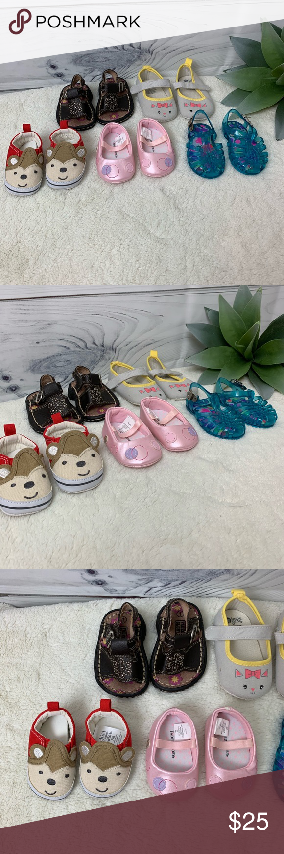 5 Pairs Of Girls Baby Shoes Carters Faded Glory Faded Glory Brown Sandals Size 1