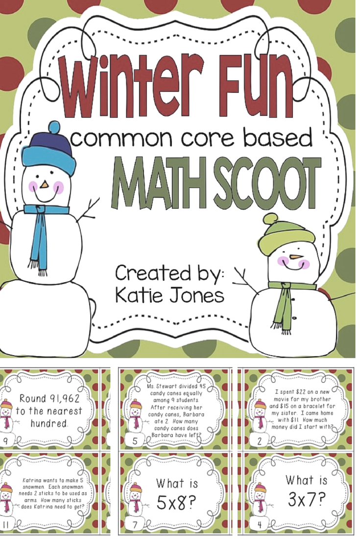 winter fun - math scoot - perfect for 3rd graders!
