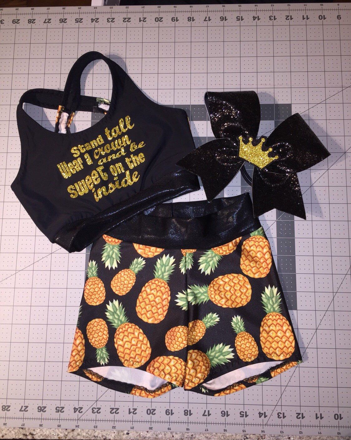 be9d95e058e50 Girls Dancewear Pineapple Sports Bra Crop Top