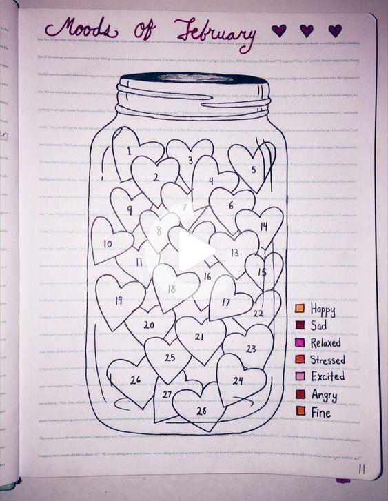 Heart Bullet Journal Mood Tracker Ideas {Perfect for February!}