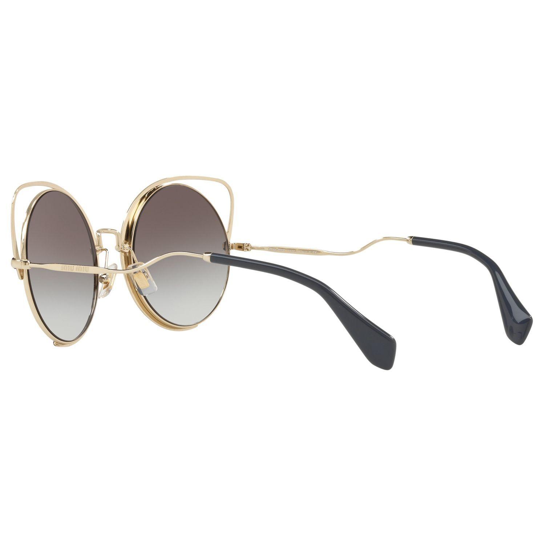Miu Miu MU 51TS Round Sunglasses, Gold/Mirror Purple