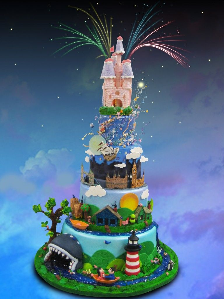 Groovy Disney Cake Each Tier Is A Different Ride Event At Disney World Funny Birthday Cards Online Bapapcheapnameinfo
