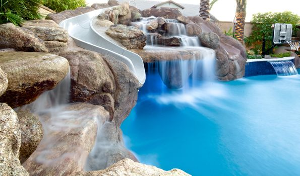 pool water features custom waterfalls phoenix landscaping. beautiful ideas. Home Design Ideas