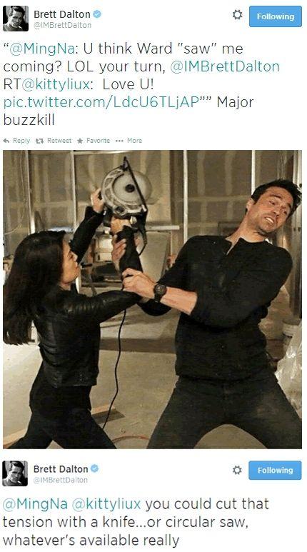 Buzzkill || Grant Ward, Melinda May || Brett Dalton, Ming-Na Wen || Twitter || 430x773 || #cast #humor #punny