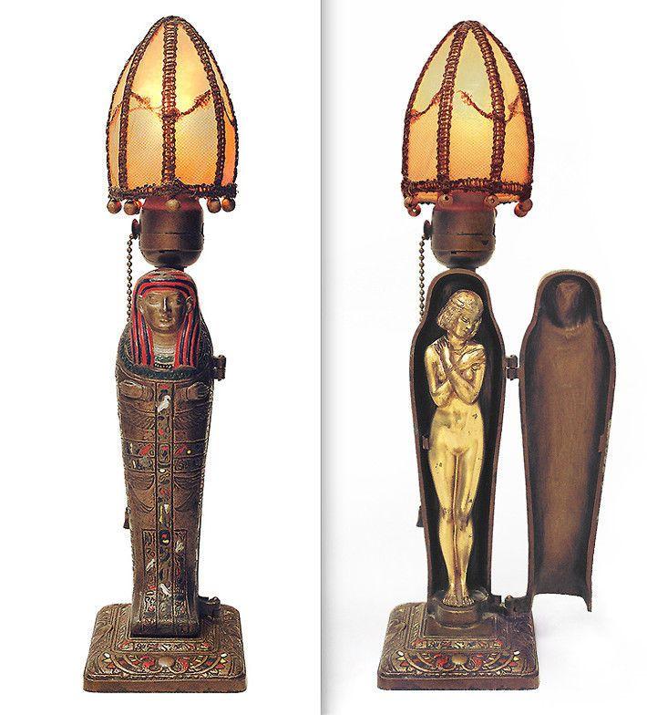 Egyptian Revival Mummy Lamp, L.V.Aronson,1923. Art Deco, RARE w ...