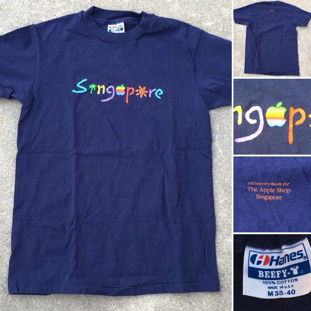 Vintage Exclusively Made For The Apple Shop Singapore T Shirt 80s 1980s Rainbow Ebay Vintage Clothing Men Shirts Shopping