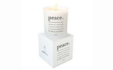 """Quotable candle has a wild current scent. Candle is made of 100% natural palm wax and 100% cotton wick. Candle comes individually packaged in a beautiful two-piece gift box.    Peace candle reads: """"Peace. It does not mean to be in a place where there is no noise, trouble or hard work. It means to be in the midst of those things and still be calm in your heart.""""- unknown    Begin candle reads: """"Begin Anywhere"""" -John Cage    Best candle reads: The best is yet to be! -Robert Browning"""