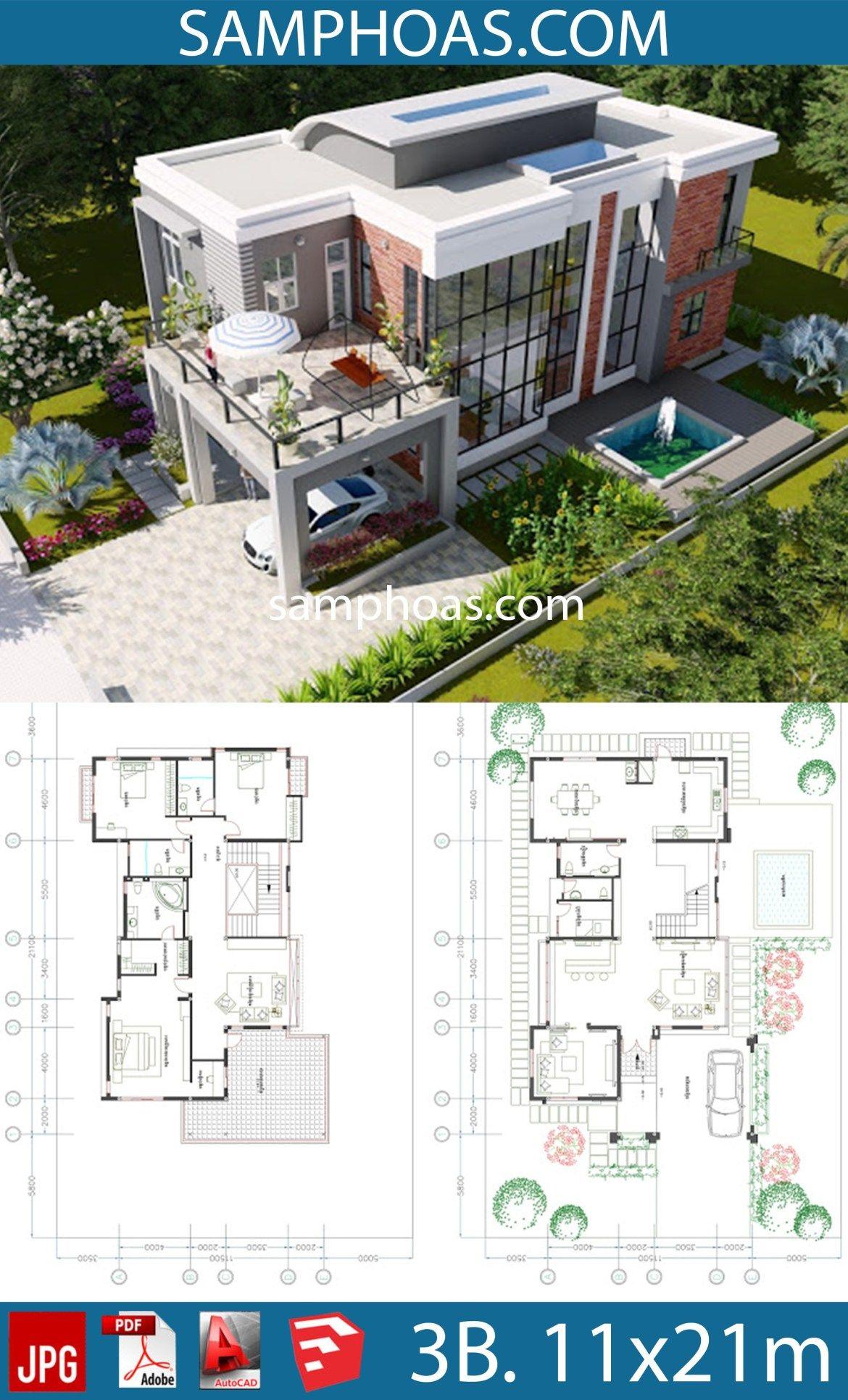 3 Bedroom Modern Villa Design Size 11 5x21 1m Samphoas Plansearch Architecture Model House Modern Villa Design Sims House Plans