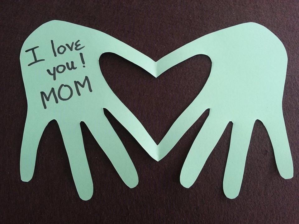 DIY Mother's Day Card Tutorial - DIY Heart Hand Card Kids Can Make