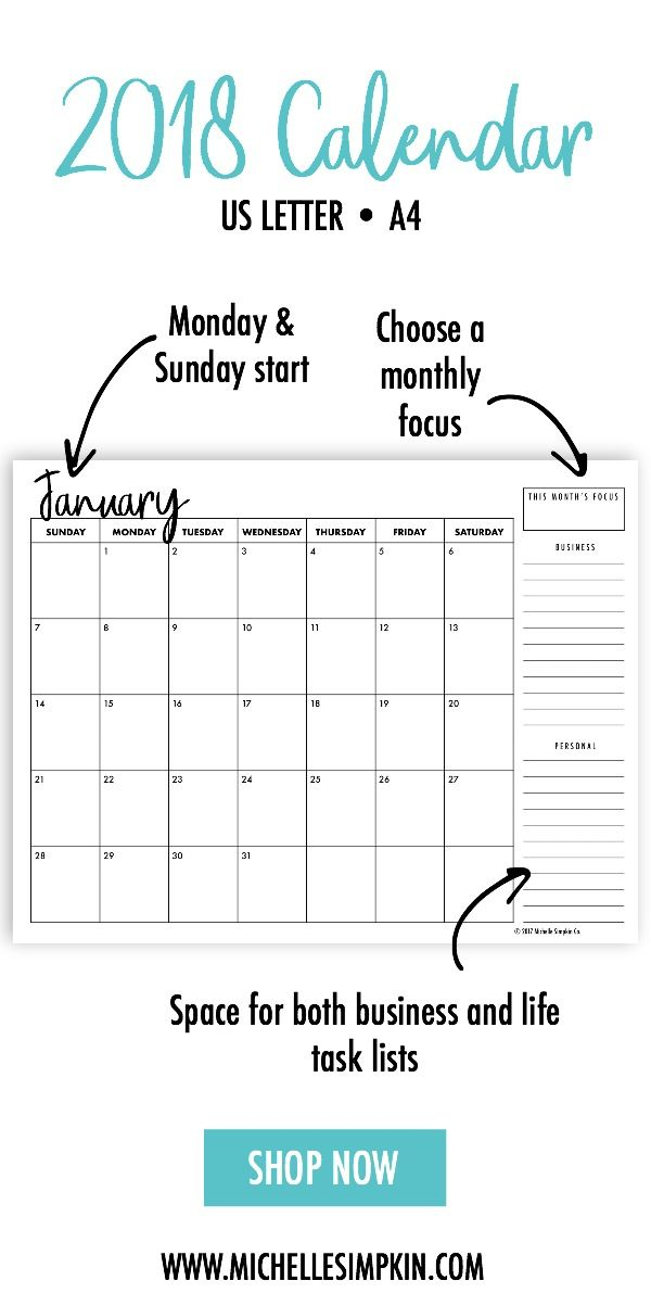 2018 printable calendar bundle comes in both monday and sunday starts made with an