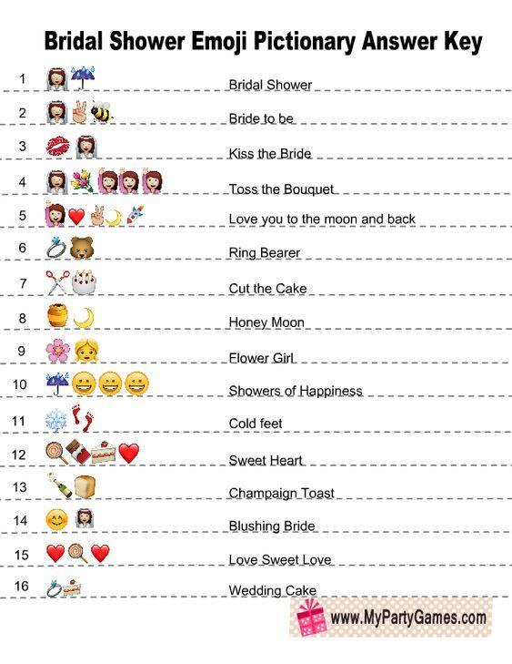 Free Printable Emoji Pictionary Bridal Shower Game Answer ...