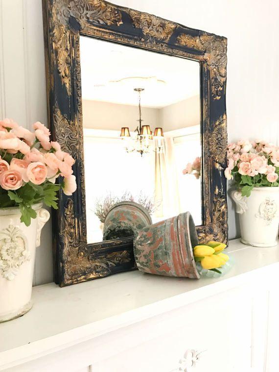 Navy Blue Gold Framed Shabby Chic Wall Mirror Bathroom Vanity Mirror Salon  Mirror Baroque Ornate Mirror