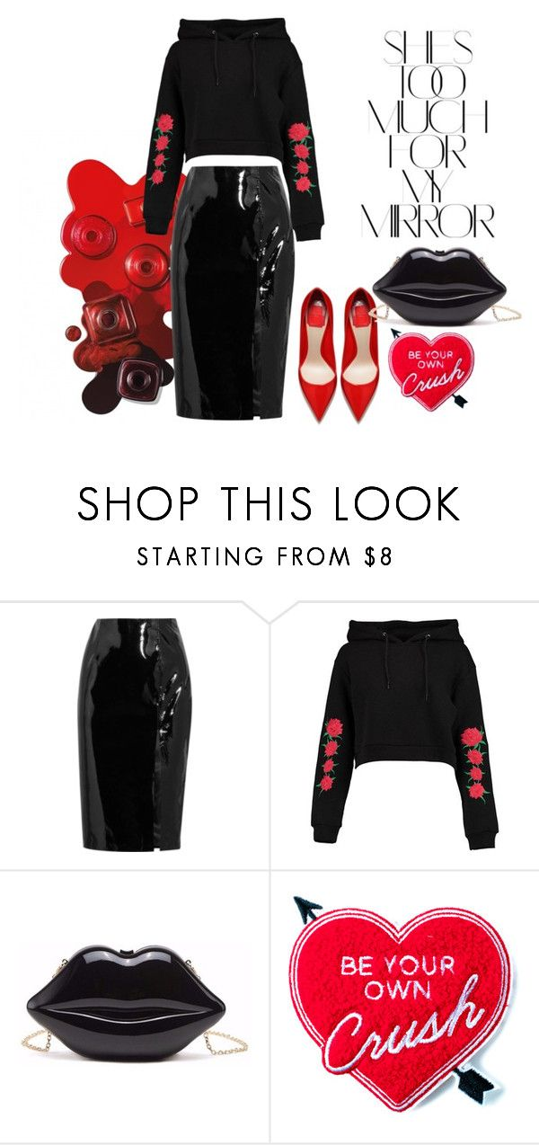 """""""#patentleather"""" by trineka-halthon ❤ liked on Polyvore featuring Rika, Topshop Unique, Boohoo and Yvng Pearl"""