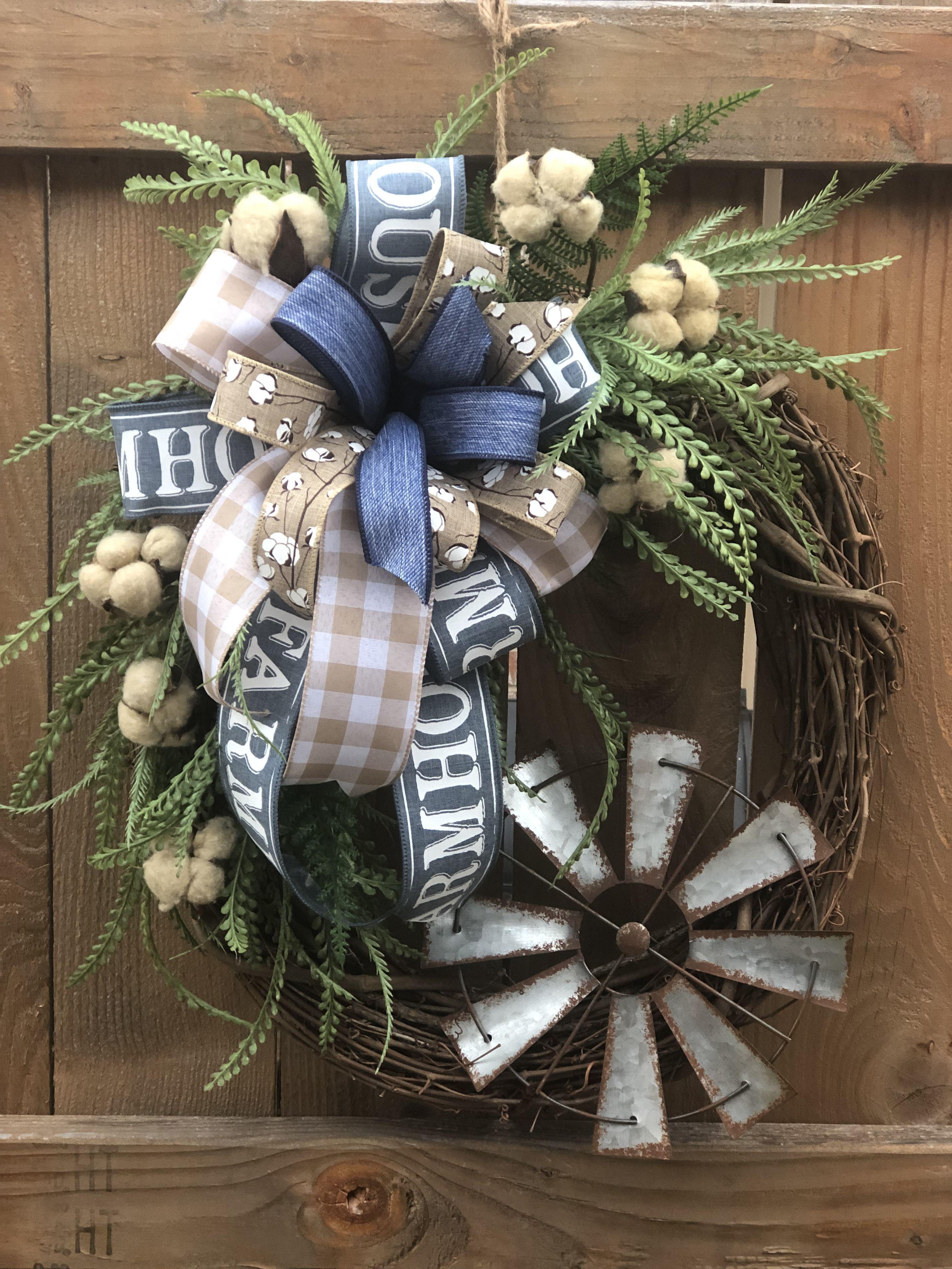 Photo of Farmhouse Cotton Windmill Grapevine Wreath