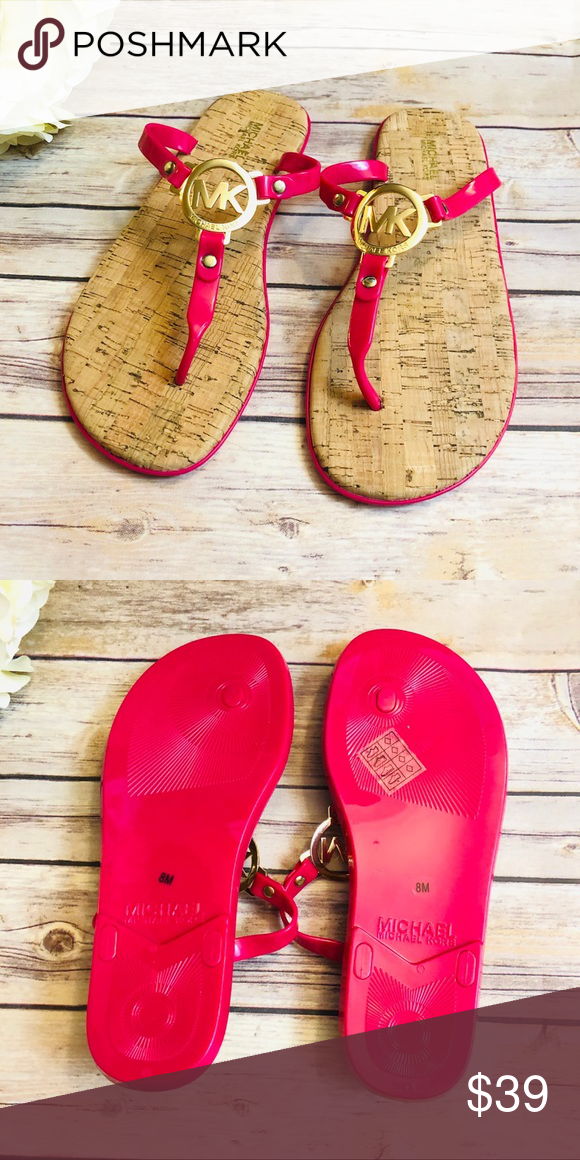 c2c4c8574963 NEW Michael Kors Cork Pink Jelly Logo Sandals Cute Sandals from Michael Kors!  Cork Sole