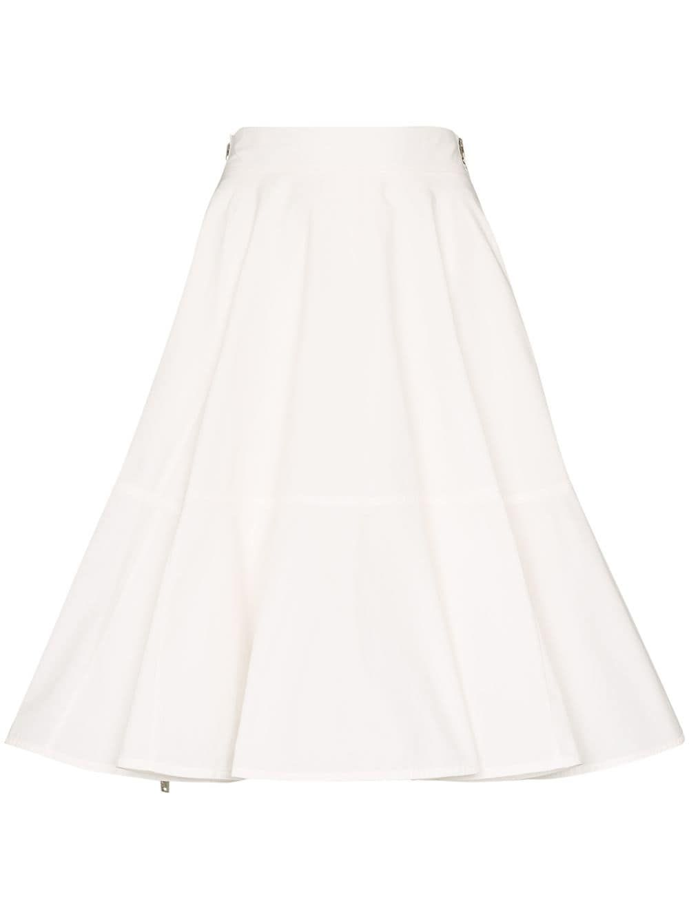 We11 Done We11done Flared Knee Length Skirt In White Modesens In 2020 Knee Length Skirt White Skirts Knee Length