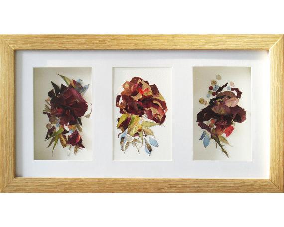 Wall art frame Set of 3 artworks Floral art Triptych art 3d artwork ...