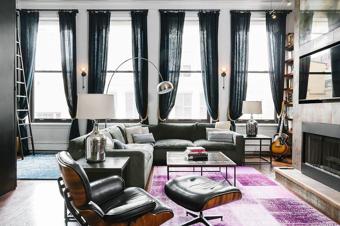 Inside an edgy manhattan loft style apartment via mydomaine also home tour  hip couple   downtown nyc ny rh pinterest