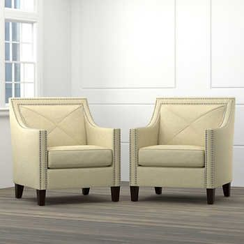 Victor Fabric Oatmeal Accent Chairs Polyester 300 Lbs Weight Limit Hand Tacked Nailhead Trim By Handy Living