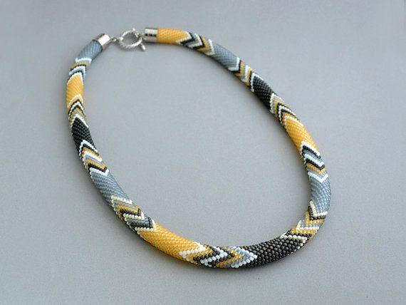 Bead Crochet Necklace Zen Yellow by Chudibeads on Etsy