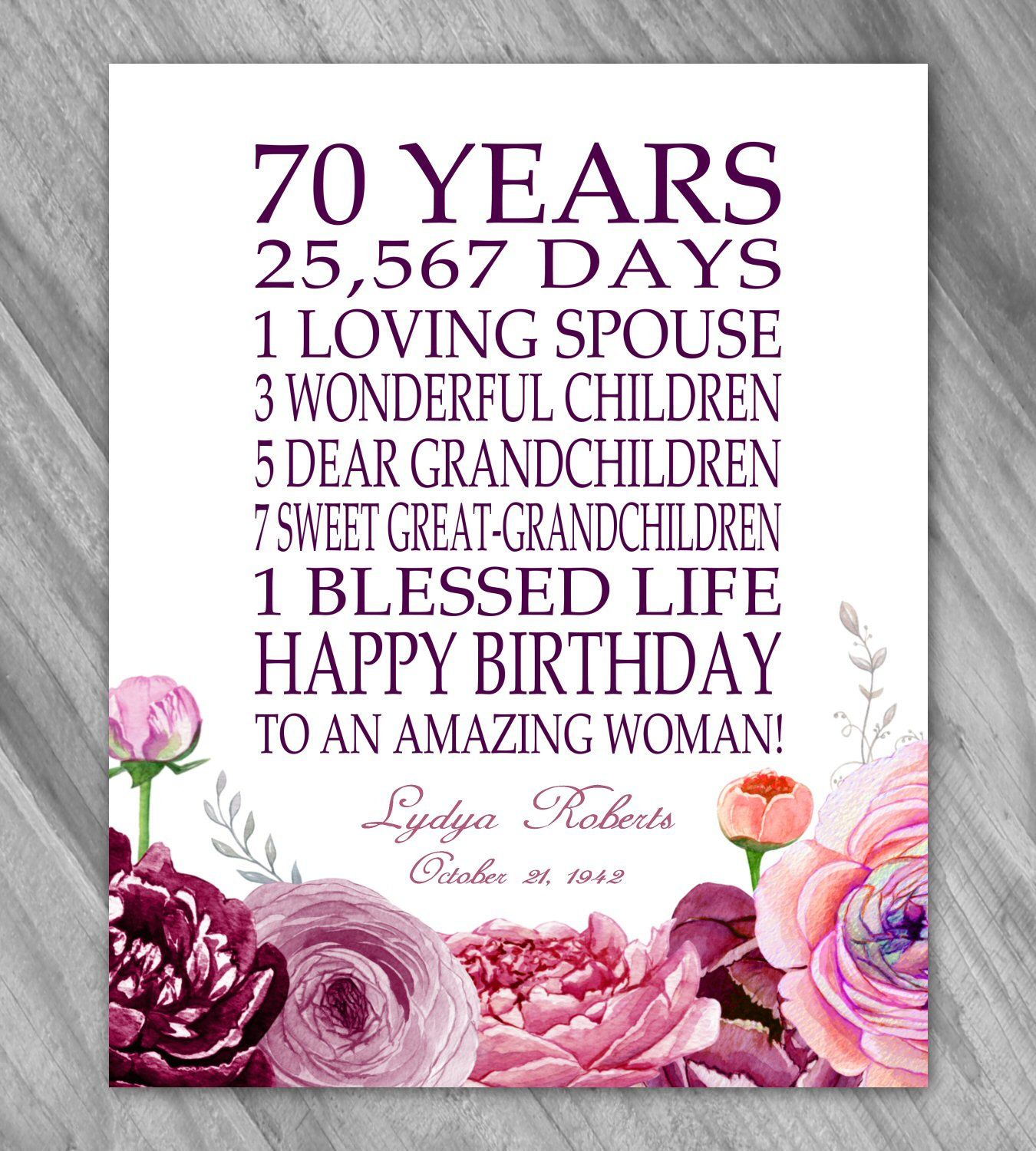 70th BIRTHDAY Gift Print Personalized 70 Year Birthday Grandma Banner Mom Sign Floral Pink Mauve Coral Printable Or PRINT By