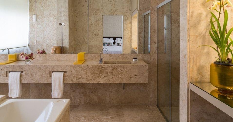 marmore travertino romano banheiro  Pesquisa Google  Banheiro  Pinterest  -> Gabinete De Banheiro Travertino