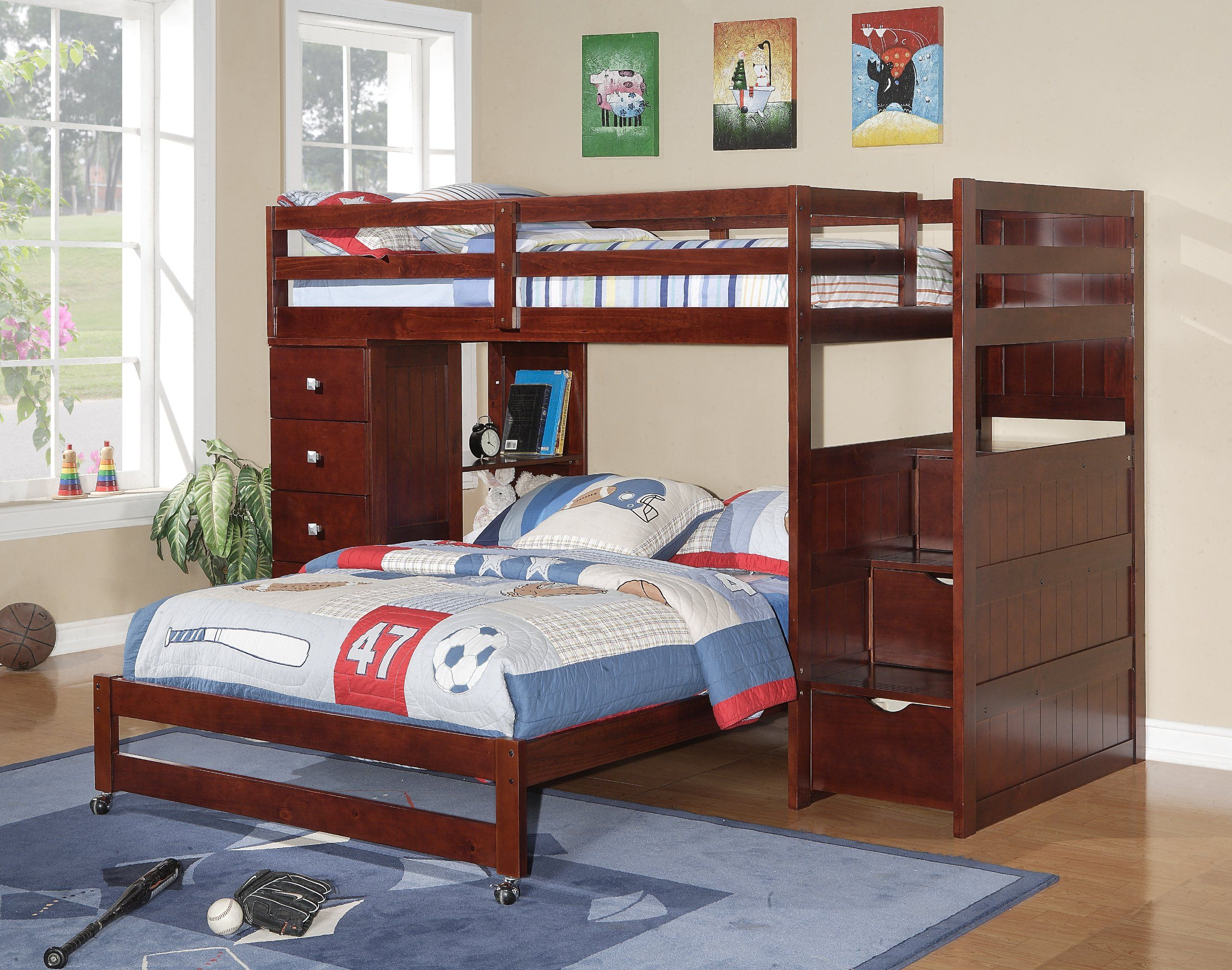 Twin Over Full Modular Stairway Loft Bed With Chest Buddy S Room