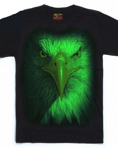 6050a79031ef 3D eagle glow in the dark t shirt for men animal big face tee | 3d ...