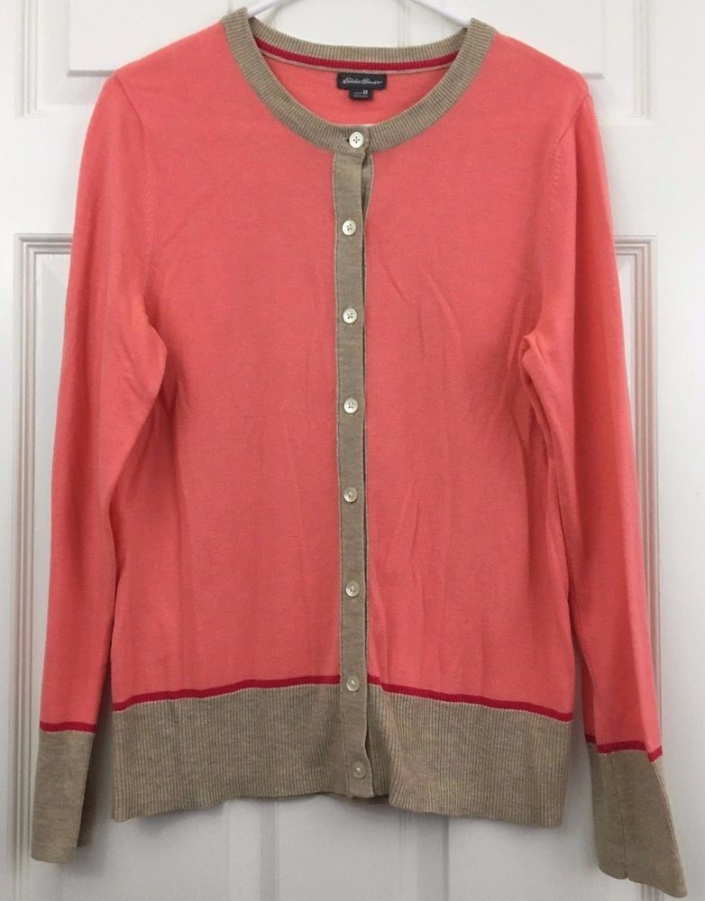 Eddie Bauer Cardigan Sweater Lightweight Cotton Button Salmon Pink ...