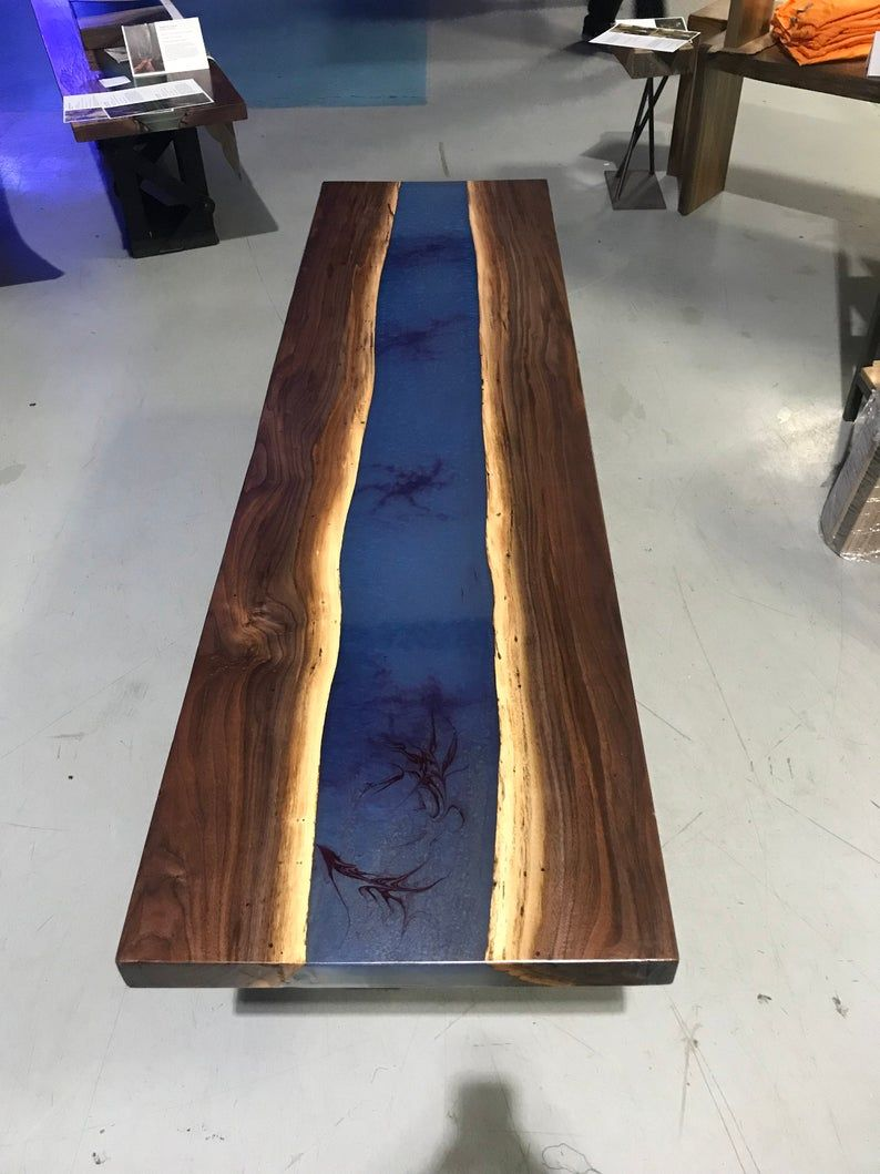 Blue Epoxy Resin Custom Table With Walnut Live Edge Etsy In 2020
