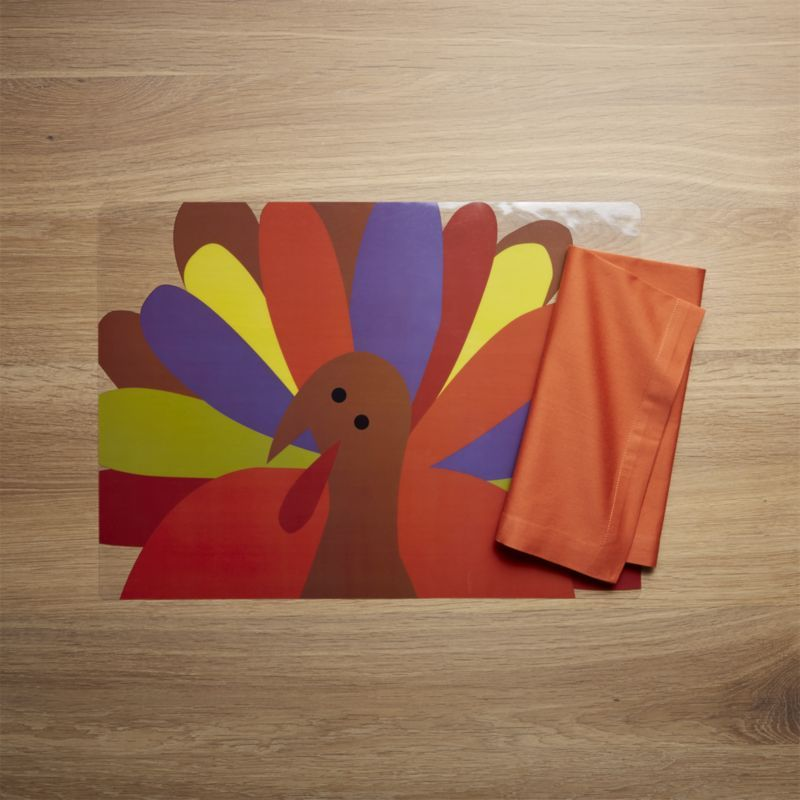 Crate  Barrel Cheerful Turkey Melamine Bowl Placemat and Products