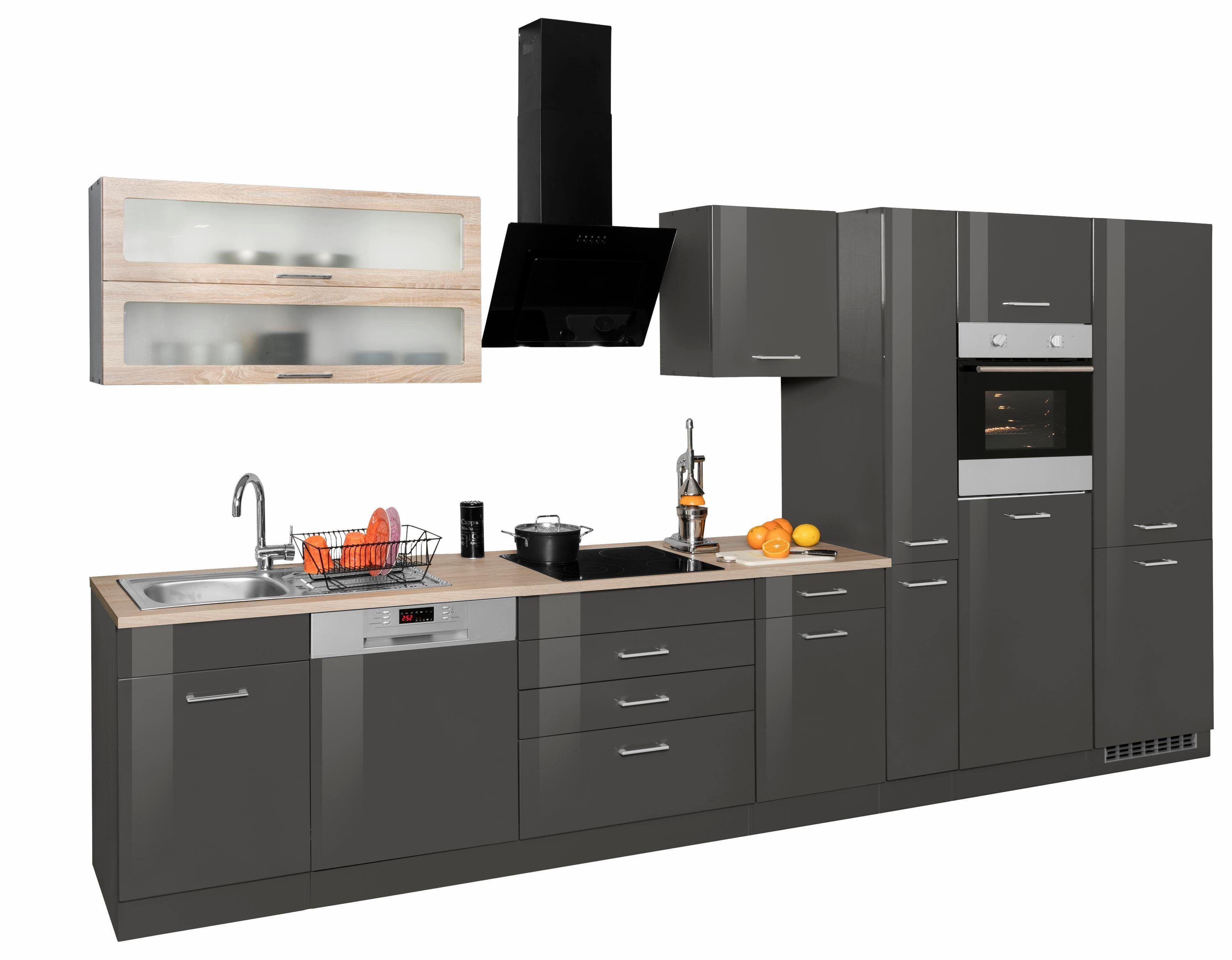 Küchenzeile mit E-Geräten grau, ohne Aufbauservice, »Utah«, Held ... | {Küchenzeile bestellen 12}